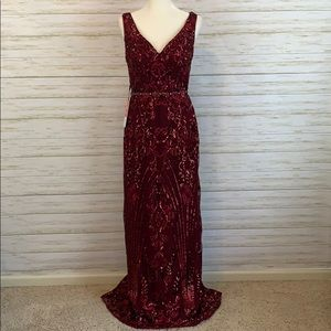 JJ's House Maroon Beaded Evening Gown -NWT